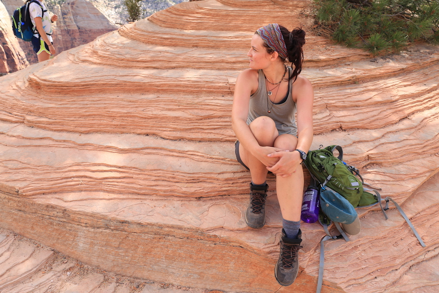 A student sites on a rock at Angel's Landing Rest Zion National Park, UT 2016 photo by Xiao Ta
