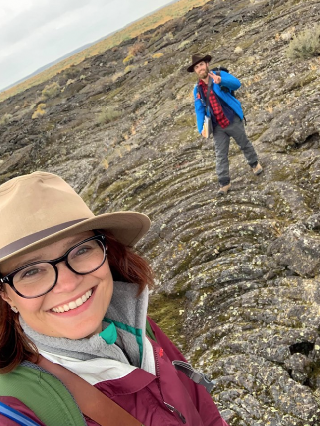 Ph.D. student Melanie Callihan and her field assistant undergraduate student Cash Owens, who studied lava flow/fault interactions in Craters of the Moon National Monument, Idaho this September